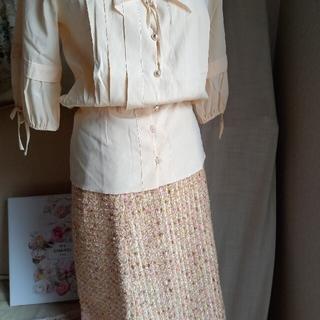 ハロッズ(Harrods)のHarrods ピンク系のツィードスカート サイズ3(ひざ丈スカート)