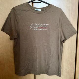 オペークドットクリップ(OPAQUE.CLIP)のOPAQUE.CLIP WORLD Tシャツ ロゴ ブラウン 茶 M(Tシャツ(半袖/袖なし))
