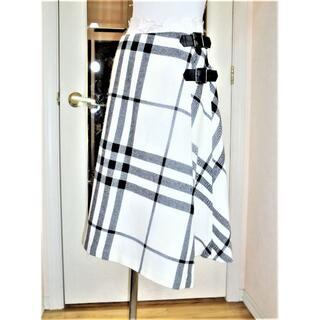BURBERRY - バーバリーロンドンBurberry 白黒巻きスカート 大きいサイズ40LL