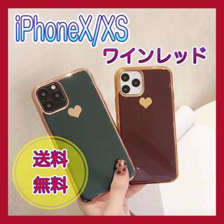 スマホカバー ケース iPhoneX/XS ワインレッド ハート 韓国雑貨(iPhoneケース)
