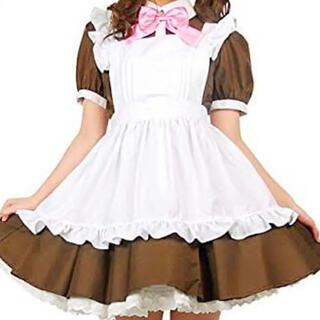 メイド服ミニスカートワンピース(ブラウンMサイズ)(衣装一式)