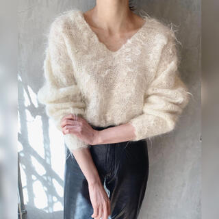 ♡ 80´s white mohair shaggy knitsweater ♡