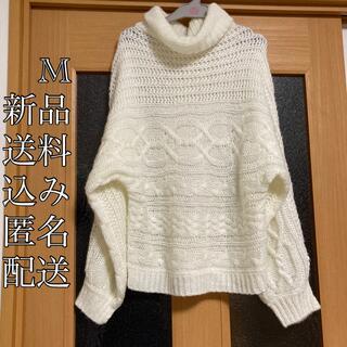 しまむら - (350) 新品 M モヘア ケーブル ざっくり編み ニット セーター ホワイト