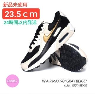 ナイキ(NIKE)の【新品】23.5㎝ Nike AirMax 90 (黒 金 ゴールド ブラック)(スニーカー)