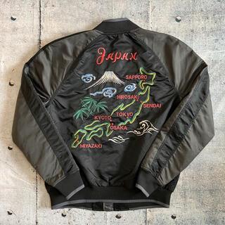 GAP - 【GAP】ギャップ 日本列島刺繍 ビッグロゴ スカジャン ジャケット 黒 古着