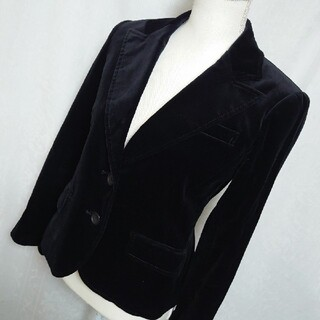 ボッシュ(BOSCH)の美品 ボッシュ コーデュロイの長袖テーラードジャケット 黒 サイズ38、9号(テーラードジャケット)