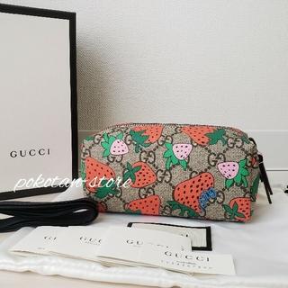 Gucci - 未使用【グッチ】ストロベリー GGスプリーム コスメティックケース ポーチ