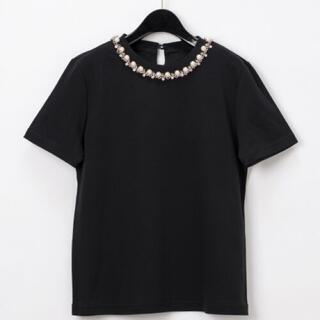 グレースコンチネンタル(GRACE CONTINENTAL)のグレースコンチネンタル パールチェーンTシャツ 黒(Tシャツ/カットソー(半袖/袖なし))