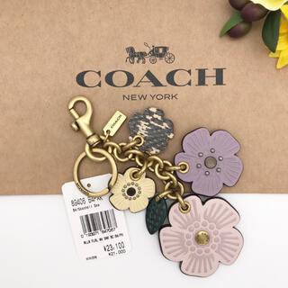 COACH - COACH ティー ローズ ミックス バッグ チャーム スネークスキン 新品