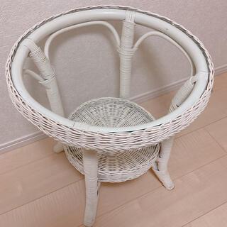ACTUS - 美品 ホワイトラタン ラウンドテーブル アンティーク ヴィンテージ レア 北欧