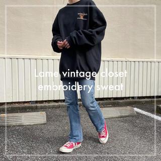 Santa Monica - 90s 古着 鹿 アニマル刺繍 スウェット フルーツオブザルーム XL