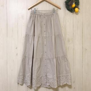 SM2 - SM2刺繍綿ロングスカート ベージュサマンサモスモス花モチーフ 花柄春物上質