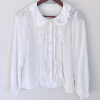 Ank Rouge - Ank Rouge  ブラウス ロゴ刺繍 白 フリル 襟