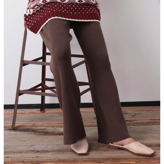 FREAK'S STORE(フリークスストア)の【WEB限定】リブフレアニットパンツ レディースのパンツ(カジュアルパンツ)の商品写真
