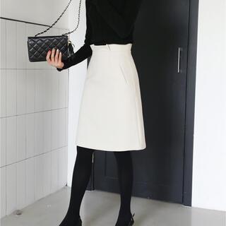 dholic - 【DHOLIC】ウエストタックAラインスカート ホワイト