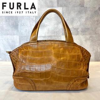 Furla - 【FURLA】フルラ ハンドバッグ クロコ型押し レザー ブラウン イタリア製