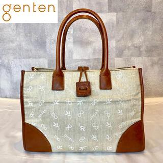 genten - 【genten】ゲンテン トートバッグ ハンドバッグ キャンバス×レザー