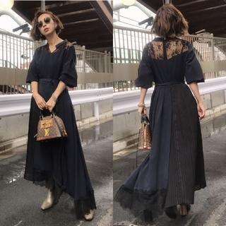 Ameri VINTAGE - Ameri【未使用品】PLEATS LACE ASYMMETRY DRESS
