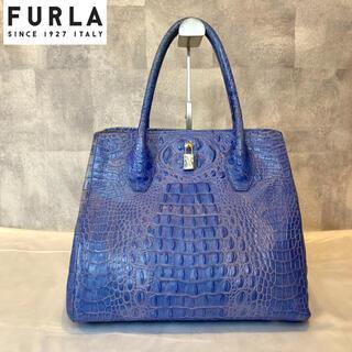 Furla - 【FURLA】フルラ トートバッグ クロコ型押し レザー ブルー ゴールド 金具