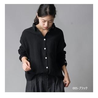 【新品未開封】ダブルガーゼシャツ 黒 長袖 ビッグシャツ(シャツ/ブラウス(長袖/七分))