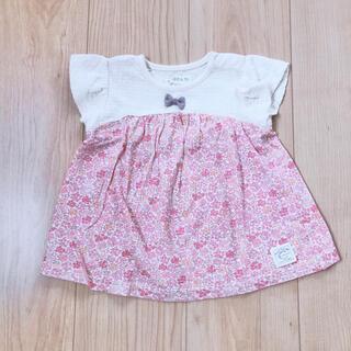 【美品】conoco 小花柄 チュニックシャツ 70