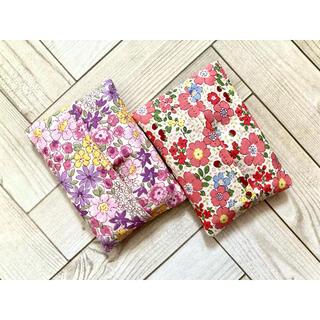 紫花柄赤花柄2点セット ミニティッシュカバー 幼稚園 入園 プレゼント(外出用品)
