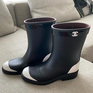 シャネル(CHANEL)のシャネル ココマーク バイカラー レインブーツ 39(レインブーツ/長靴)
