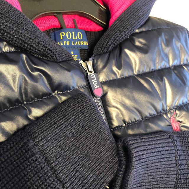 POLO RALPH LAUREN(ポロラルフローレン)の⭐️未使用に近い⭐️ラルフローレンダウンニットパーカー6サイズ キッズ/ベビー/マタニティのキッズ服女の子用(90cm~)(ジャケット/上着)の商品写真