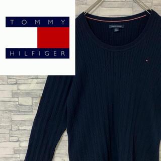 TOMMY HILFIGER - 【定番】トミーヒルフィガー ニット・セーター ワンポイント刺繍ロゴ ネイビー L