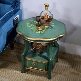 ベッドサイドテーブル 置台 高級サイドテーブル ナイトテーブル 高級感 アンティ(ローテーブル)