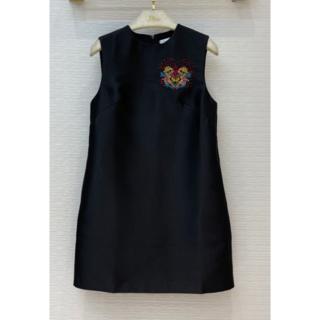 クリスチャンディオール(Christian Dior)のDIOR クリスチャンディオール 刺繡ロゴ ミニワンピースS(ミニワンピース)