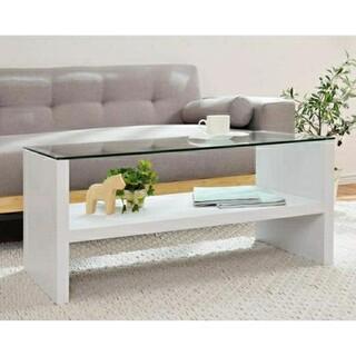 新生活に★オシャレなローテーブル ガラステーブル ホワイト(ローテーブル)