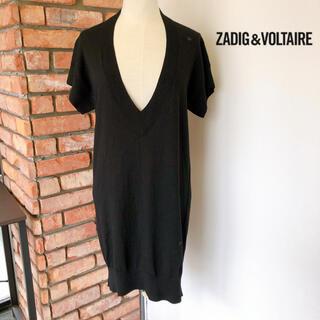 Zadig&Voltaire - ザディグエヴォルテール 半袖ニット ロング丈 ブラック TU(フリーサイズ)