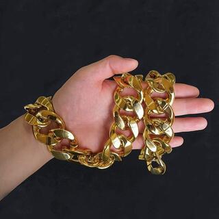 喜平チェーン 金色ネックレス プラスチック製ゴールド パンクファッションスタイル(小道具)
