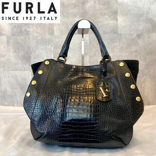 Furla - 【FURLA】フルラ 高級 ハンドトートバッグ クロコ型押し レザー ブラック