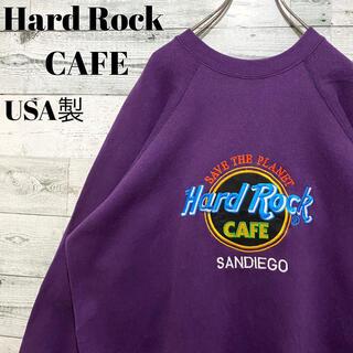 【超人気】ハードロックカフェ☆USA製 刺繍ビッグロゴ パープル スウェット