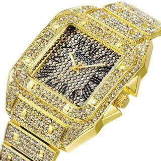 新品 CURDDEN ゴージャスストーンウォッチ ゴールド CZ メンズ腕時計