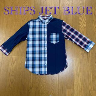 シップスジェットブルー(SHIPS JET BLUE)のSHIPS JET BLUE 切り替えボタンダウンシャツ 七分袖(シャツ)