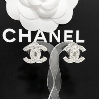 CHANEL - 正規品 シャネル イヤリング シルバー ココマーク ラインストーン 銀 ロゴ 石