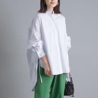 【新品タグ付き】2021新作 タイプライターサイドリボンバンドカラーシャツ