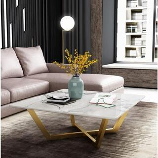 賛品★高品質★大理石製コーヒーテーブル 北欧風コーヒーテーブル 正方形コーヒーテ(ローテーブル)
