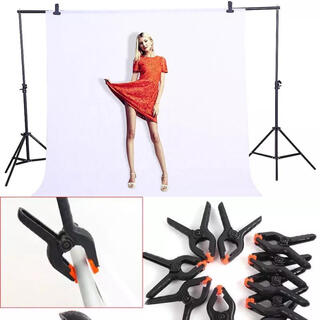 撮影用バックスクリーン3×1.6m 強力クリップ8個セット(ストロボ/照明)