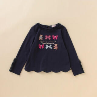 mezzo piano - 新品 メゾピアノ リボン×クマ刺しゅう裾スカラップTシャツ 110
