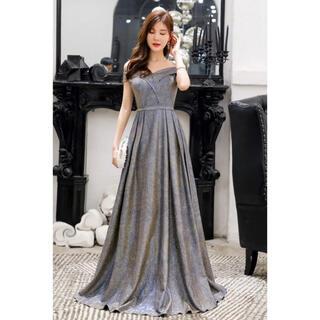 ザラ(ZARA)のロングドレス 二次会 結婚式 ラメ ツイード キャバドレス グレー オフショル(ロングドレス)