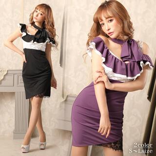 dazzy store - リボン付きオフショルタイトミニドレス