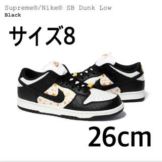 NIKE - supreme sb dunk low ナイキダンク黒 26 us8