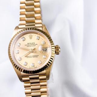 ROLEX - 【保証書付/仕上済】ロレックス 10P ダイヤ 金無垢 レディース 腕時計