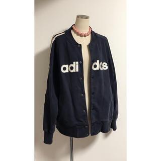 adidas - adidas アディダス ロゴ入り ブルゾン メンズ コットン ネイビー