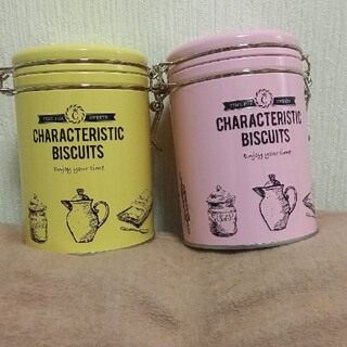 KALDI - カルディ オリジナル パステルクッキーキャスター缶 ピンク&イエロー