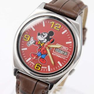 セイコー(SEIKO)の【整備済み】セイコー 5 自動巻 ミッキー 赤 メンズ 腕時計 ビンテージ(腕時計(アナログ))